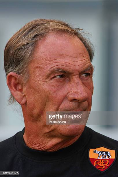 Zdenek Zeman head coach of AS Roma looks on during the Serie A match between AS Roma and Bologna FC at Stadio Olimpico on September 16 2012 in Rome...