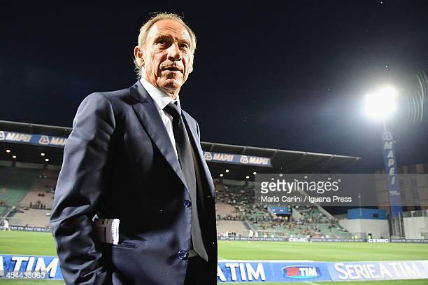 Zdenek Zeman head coach of Cagliari Calcio looks on before the Serie A match between US Sassuolo Calcio and Cagliari Calcio on August 31 2014 in...