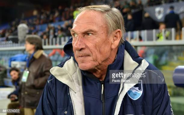 Zdenek Zeman head coach of Pescara during the Tim Cup match between UC Sampdoria and Pescara Calcio at Stadio Luigi Ferraris on November 28 2017 in...