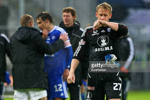 Zdenek Zlamal of SK Sigma Olomouc shows his dejection after defeat in the Czech First League match between FK Jablonec and SK Sigma Olomouc held on...