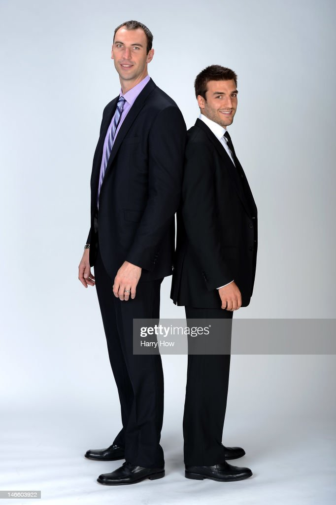 Zdeno Chara and Patrice Bergeron of the Boston Bruins pose for a portrait during the 2012 NHL Awards at the Encore Theater at the Wynn Las Vegas on June 20, 2012 in Las Vegas, Nevada.