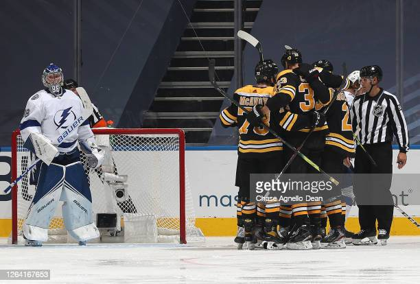 Zdeno Chara Charlie McAvoy Joakim Nordstrom Sean Kuraly and Chris Wagner of the Boston Bruins celebrate after Wagner scored as goaltender Andrei...