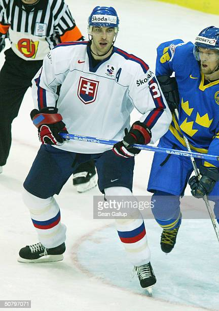 Zdeno Chara of Slovakia vies for position with Daniel Tjarnqvist of Sweden in the teams' Group F qualifier match at the International Ice Hockey...