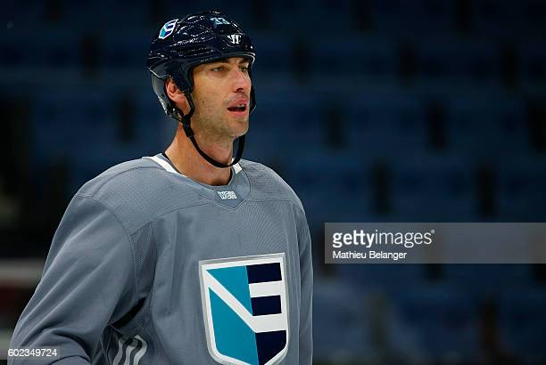 Zdeno Chara of Team Europe looks on during a practice at the Centre Videotron on September 7, 2016 in Quebec City, Quebec, Canada.