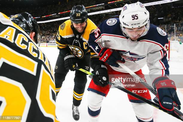 Zdeno Chara of the Boston Bruins and Matt Duchene of the Columbus Blue Jackets battle for the puck in Game Two of the Eastern Conference Second Round...