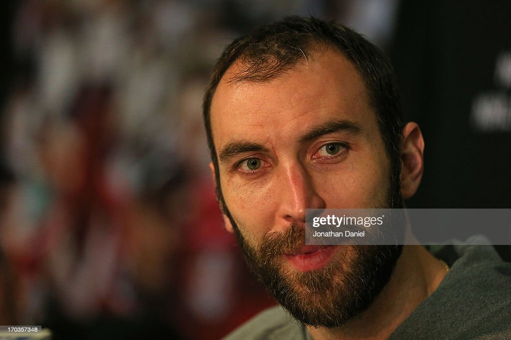 Zdeno Chara of the Boston Bruins answers questions during the 2013 NHL Stanley Cup media day at the United Center on June 11, 2013 in Chicago, Illinois.