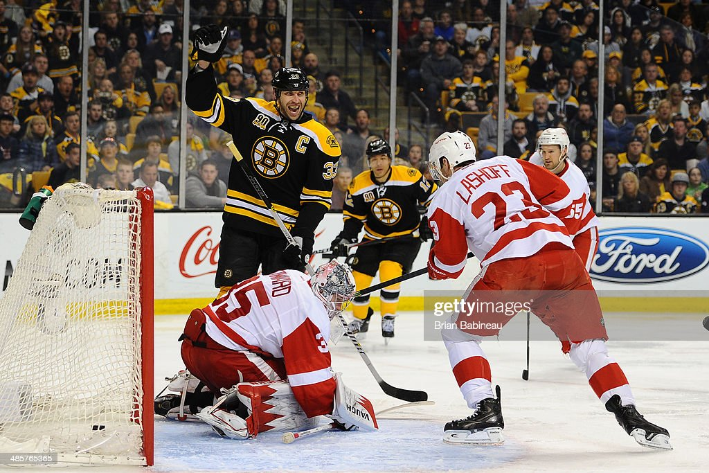 Zdeno Chara #33 of the Boston Bruins celebrates a goal against the Detroit Red Wings in Game Two of the First Round of the 2014 Stanley Cup Playoffs at TD Garden on April 20, 2014 in Boston, Massachusetts.