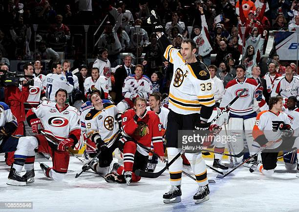 Zdeno Chara of the Boston Bruins celebrates after winning the hardest shot part of the Honda NHL SuperSkills competition part of 2011 NHL AllStar...