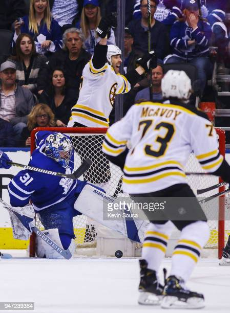 Zdeno Chara of the Boston Bruins celebrates his goal on Frederik Andersen of the Toronto Maple Leafs in Game Three of the Eastern Conference First...