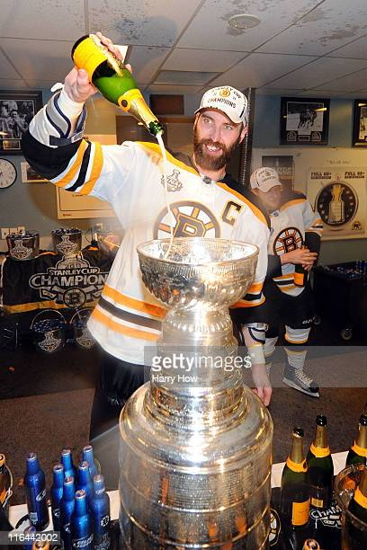 Zdeno Chara of the Boston Bruins celebrates in the locker room after defeating the Vancouver Canucks in Game Seven of the 2011 NHL Stanley Cup Final...