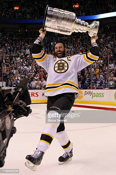 Zdeno Chara of the Boston Bruins celebrates with the Stanley Cup after defeating the Vancouver Canucks in Game Seven of the 2011 NHL Stanley Cup...
