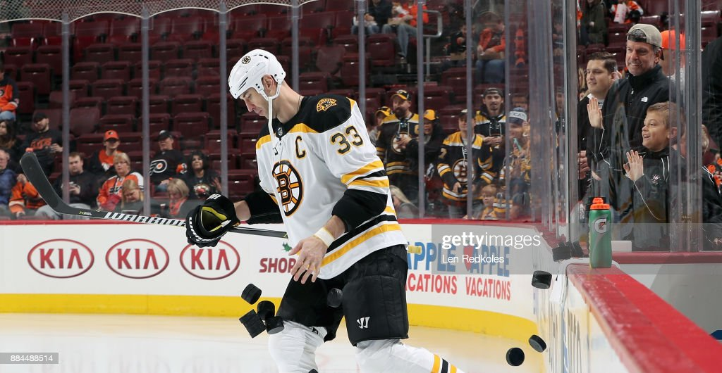 Zdeno Chara #33 of the Boston Bruins enters the ice surface for warmups prior to his game against the Philadelphia Flyers on December 2, 2017 at the Wells Fargo Center in Philadelphia, Pennsylvania.