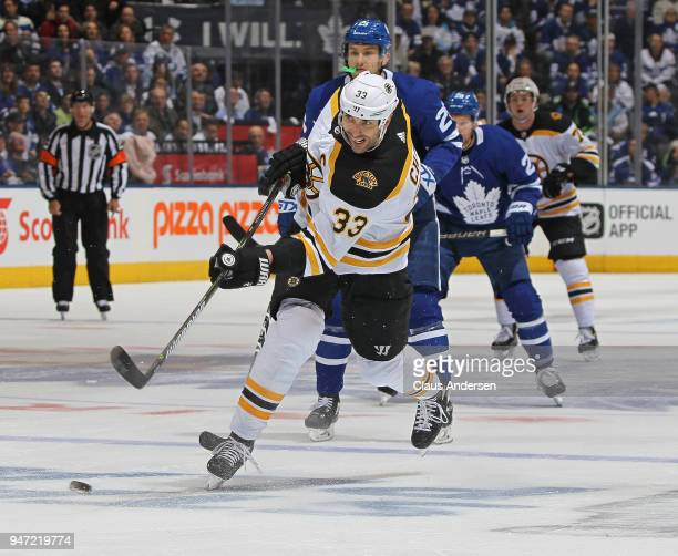Zdeno Chara of the Boston Bruins fires a shot against the Toronto Maple Leafs in Game Three of the Eastern Conference First Round during the 2018...
