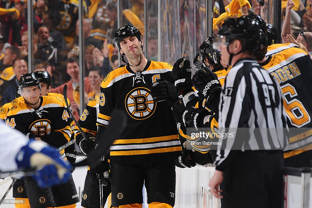 Zdeno Chara #33 of the Boston Bruins fist bumps his team mates after a goal against the Toronto Maple Leafs in Game One of the Eastern Conference Quarterfinals during the 2013 NHL Stanley Cup Playoffs at TD Garden on May 1, 2013 in Boston, Massachusetts.