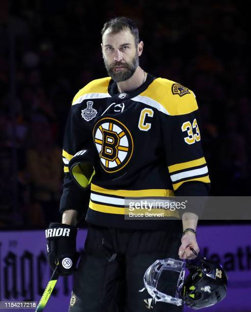 Zdeno Chara of the Boston Bruins is introduced prior to Game Five of the 2019 NHL Stanley Cup Final against the St Louis Blues at TD Garden on June...