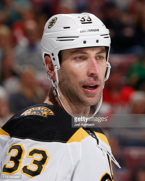 Zdeno Chara of the Boston Bruins looks on during first period action against the Florida Panthers at the BBT Center on March 23 2019 in Sunrise...