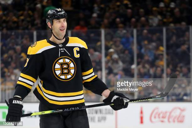 Zdeno Chara of the Boston Bruins looks on during the first period of the game against the Calgary Flames at TD Garden on February 25, 2020 in Boston,...