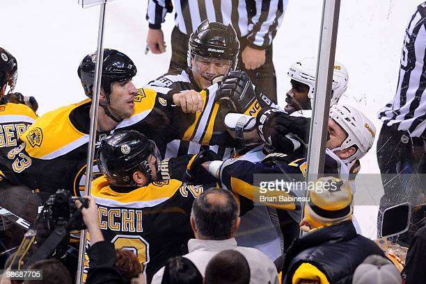 Zdeno Chara of the Boston Bruins punches Paul Gaustad of the Buffalo Sabres in Game Six of the Eastern Conference Quarterfinals during the 2010 NHL...