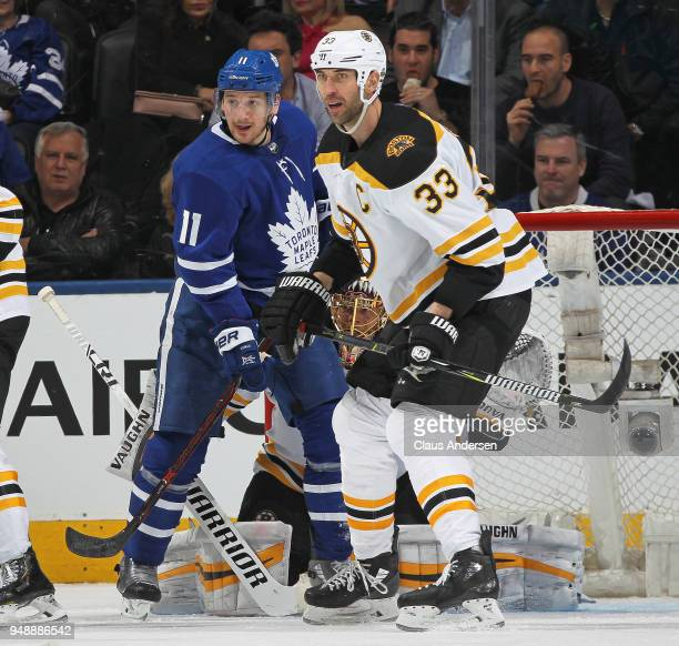 Zdeno Chara of the Boston Bruins skates against Zach Hyman of the Toronto Maple Leafs in Game Four of the Eastern Conference First Round in the 2018...