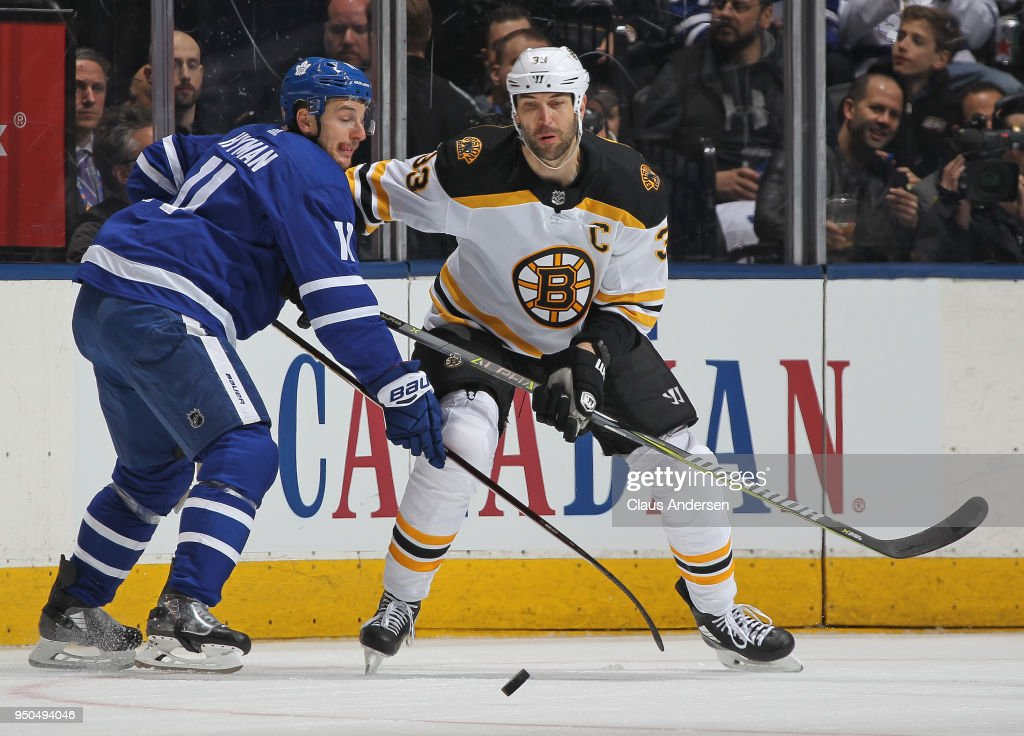 Zdeno Chara #33 of the Boston Bruins skates against Zach Hyman #11 of the Toronto Maple Leafs in Game Six of the Eastern Conference First Round in the 2018 Stanley Cup Play-offs at the Air Canada Centre on April 23, 2018 in Toronto, Ontario, Canada. The Maple Leafs defeated the Bruins 3-1.