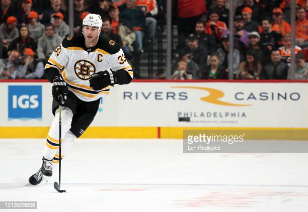 Zdeno Chara of the Boston Bruins skates the puck against the Philadelphia Flyers on March 10 2020 at the Wells Fargo Center in Philadelphia...