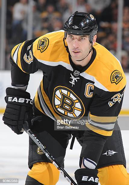 Zdeno Chara of the Boston Bruins waits in position prior to a faceoff during the game against the Montreal Canadiens at the TD Garden on November 5...