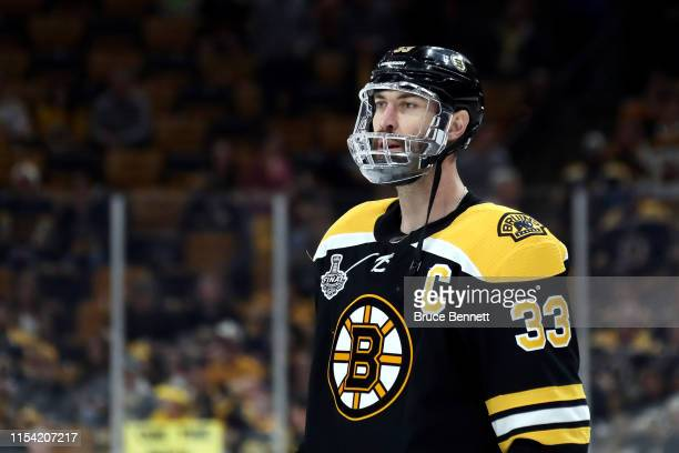 Zdeno Chara of the Boston Bruins warms up prior to Game Five of the 2019 NHL Stanley Cup Final against the St Louis Blues at TD Garden on June 06...