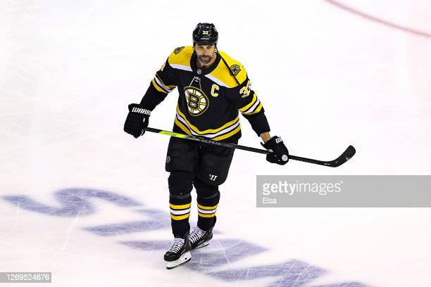 Zdeno Chara of the Boston Bruins warms up prior to Game Four of the Eastern Conference Second Round against the Tampa Bay Lightning during the 2020...