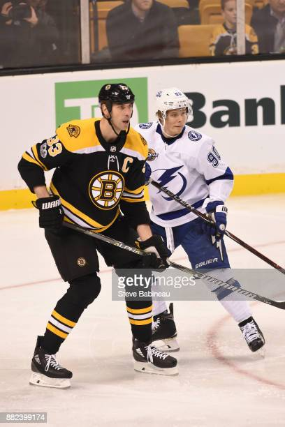 Zdeno Chara of the Boston Bruins watches the play against Vladislav Namentnikov of the Tampa Bay Lightning at the TD Garden on November 29, 2017 in...