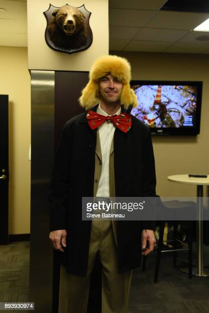 Zdeno Chara of the Boston Bruins wears festive holiday attire before the game against the New York Rangers at the TD Garden on December 16, 2017 in...