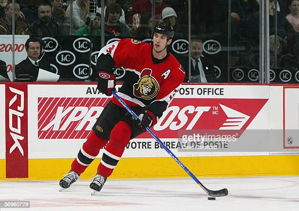 Zdeno Chara of the Ottawa Senators handles the puck against the Mighty Ducks of Anaheim at Scotiabank Place on January 19 2006 in Kanata Ontario...