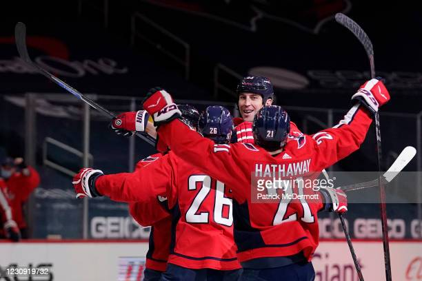 Zdeno Chara of the Washington Capitals celebrates with his teammates after scoring a goal against the Boston Bruins in the first period at Capital...
