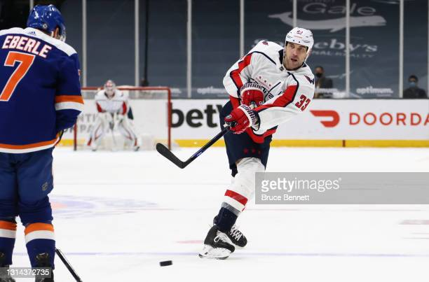Zdeno Chara of the Washington Capitals skates against the New York Islanders at the Nassau Coliseum on April 24, 2021 in Uniondale, New York. With...