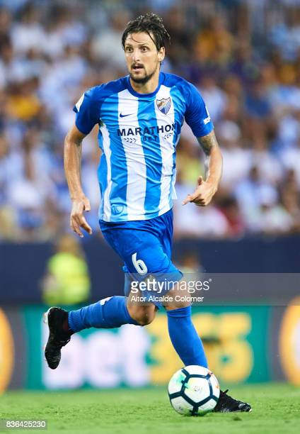 Zdravko Kuzmanovic of Malaga CF in action during the La Liga match between Malaga and Eibar at Estadio La Rosaleda on August 21 2017 in Malaga