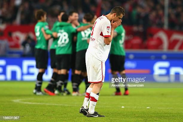 Zdravko Kuzmanovic of Stuttgart reacts after the Bundesliga match between VfB Stuttgart and Hannover 96 at MercedesBenz Arena on November 11 2012 in...