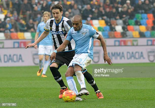 Zdravko Kuzmanovic of Udinese Calcio competes with Abdoulay Konko of SS Lazio during the Serie A match between Udinese Calcio and SS Lazio at Dacia...