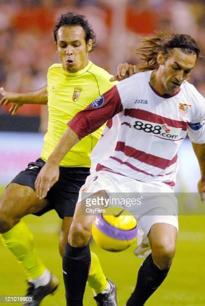 Ze Carlos of Braga and Javi Navarro of Sevilla in action during a UEFA Cup match between Braga and Sevilla at Ramon Sanchez Pizjuan Stadium on...