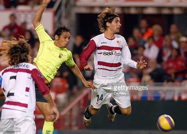Ze Carlos of Braga and Julien Escude of Sevilla in action during a UEFA Cup match between Braga and Sevilla at Ramon Sanchez Pizjuan Stadium on...