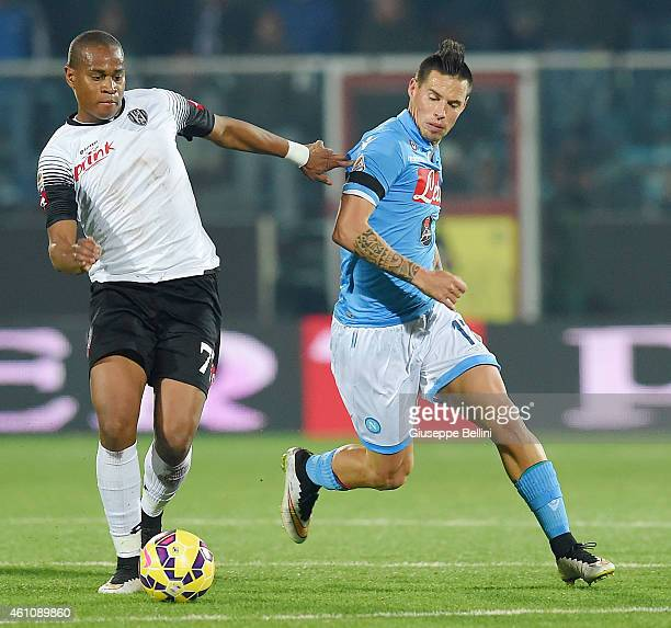 Ze Eduardo of Cesena and Marek Hamsik of Napoli in action during the Serie A match between AC Cesena and SSC Napoli at Dino Manuzzi Stadium on...