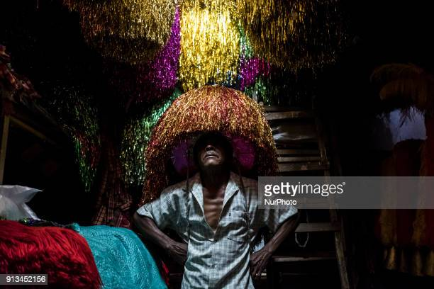 Ze Estêvão poses for photography when wearing the helmet of his quotCaboclo de Lançaquot costume in the city of Nazaré de Mata in the Northeast of...