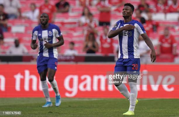 Ze Luis of FC Porto celebrates after scoring a goal during the Liga NOS match between SL Benfica and FC Porto at Estadio da Luz on August 24 2019 in...