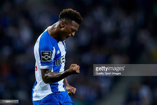 Ze Luis of FC Porto celebrates after scoring his team's first goal during the Liga Nos match between FC Porto and Vitoria FC at Estadio do Dragao on...