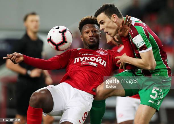 Ze Luis of FC Spartak Moscow and Filip Uremovic of FC Rubin Kazan vie for the ball during the Russian Premier League match between FC Spartak Moscow...