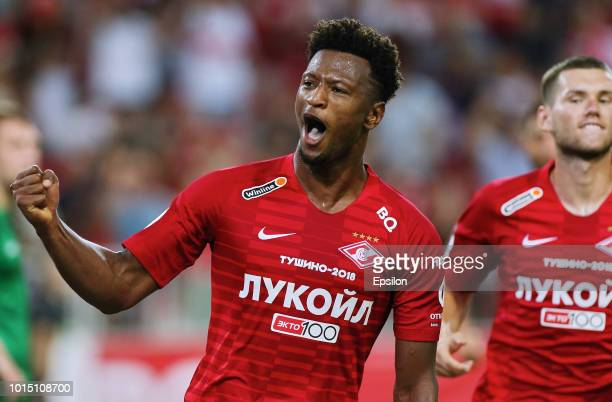Ze Luis of FC Spartak Moscow celebrates his goal during the Russian Premier League match between FC Spartak Moscow and FC Anji Makhachkala at...