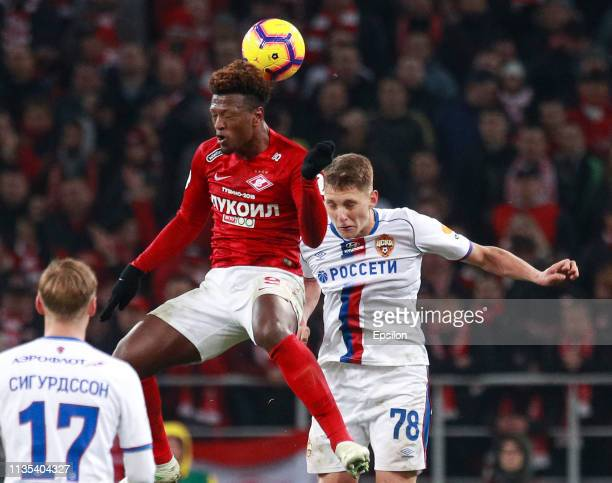 Ze Luis of FC Spartak Moscow vies for the ball with Igor Diveyev of PFC CSKA Moscow during the Russian Premier League match between FC Spartak Moscow...