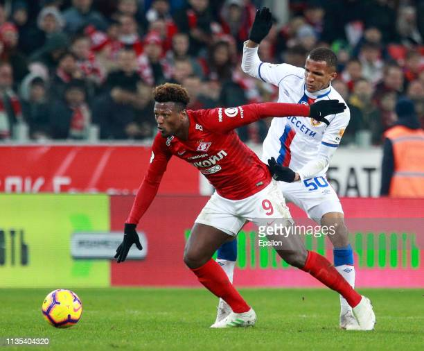 Ze Luis of FC Spartak Moscow vies for the ball with Rodrigo Becao of PFC CSKA Moscow during the Russian Premier League match between FC Spartak...