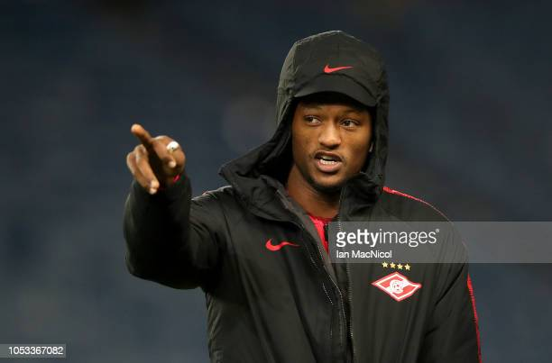 Ze Luis of Spartak Moscow inspects the pitch during the UEFA Europa League Group G match between Rangers and Spartak Moscow at Ibrox Stadium on...