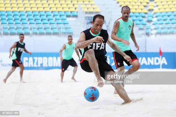 Ze Maria controles the ball ahead of Madjer during a Portugal training session before the FIFA Beach Soccer World Cup Bahamas 2017 at National Beach...