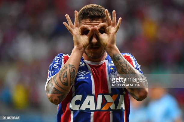 Ze Rafael of Brazils Bahia celebrates his goal against Bolivia's Blooming during their 2018 Copa Sudamericana football match held at Arena Fonte Nova...