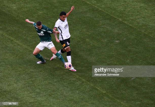 Ze Rafael of Palmeiras fights for the ball with Gabriel of Corinthians during the match between Corinthians and Palmeiras as part of the State...